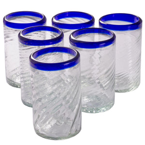 Orion Tornado Cobalt Rim 16 oz Tumbler - Set of 6 - Orion's Table Mexican Glassware