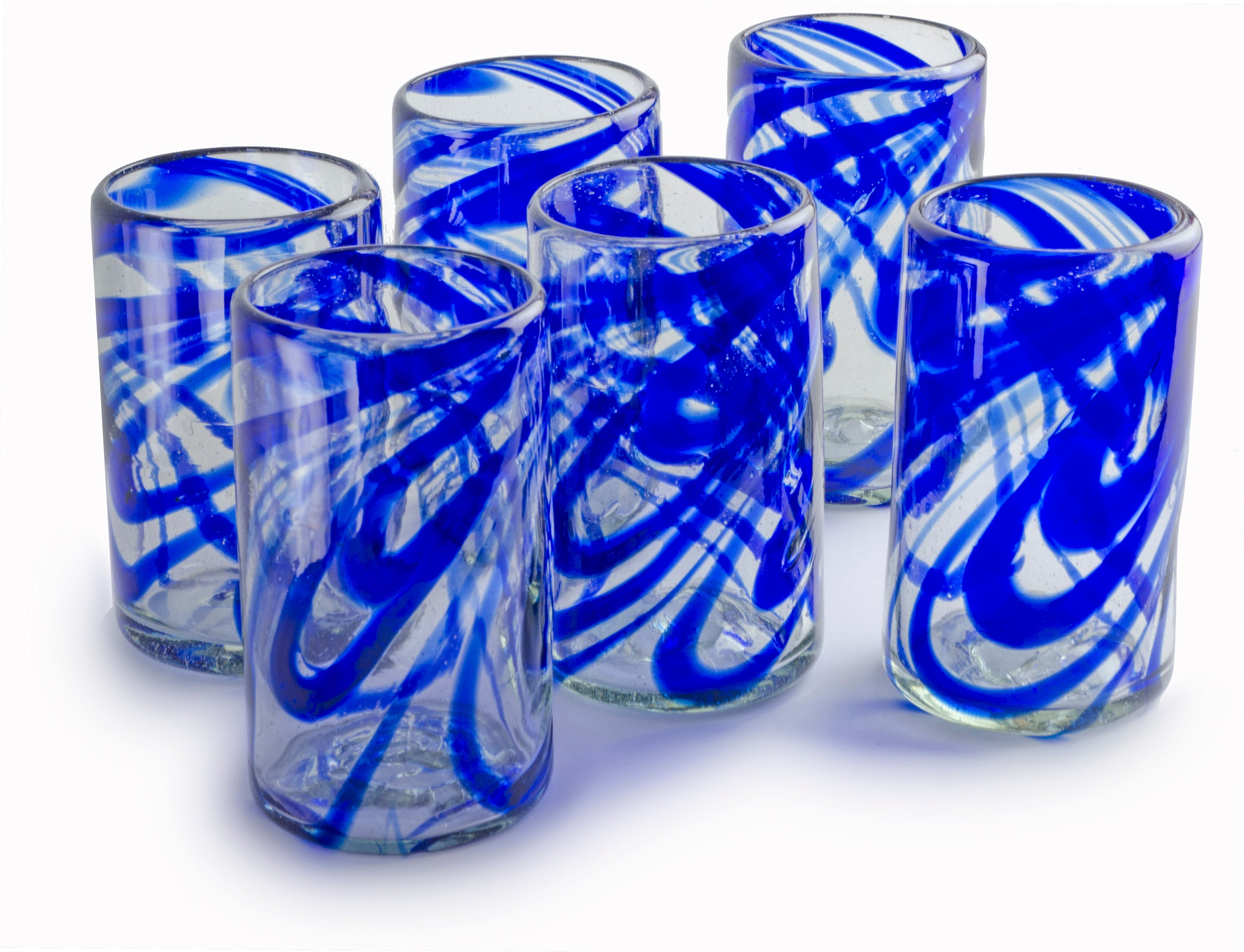 Orion Blue Swirl 16 oz Tumbler - Set of 6 - Orion's Table Mexican Glassware