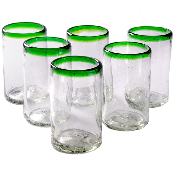 Orion Green Rim 16 oz Tumbler - Set of 6 - Orion's Table Mexican Glassware