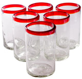 Orion Red Rim 16 oz Tumbler - Set of 6 - Orion's Table Mexican Glassware