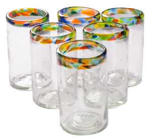 Orion Confetti Rim Original Tumbler 16 oz. - Set of 6 - Orion's Table Mexican Glassware