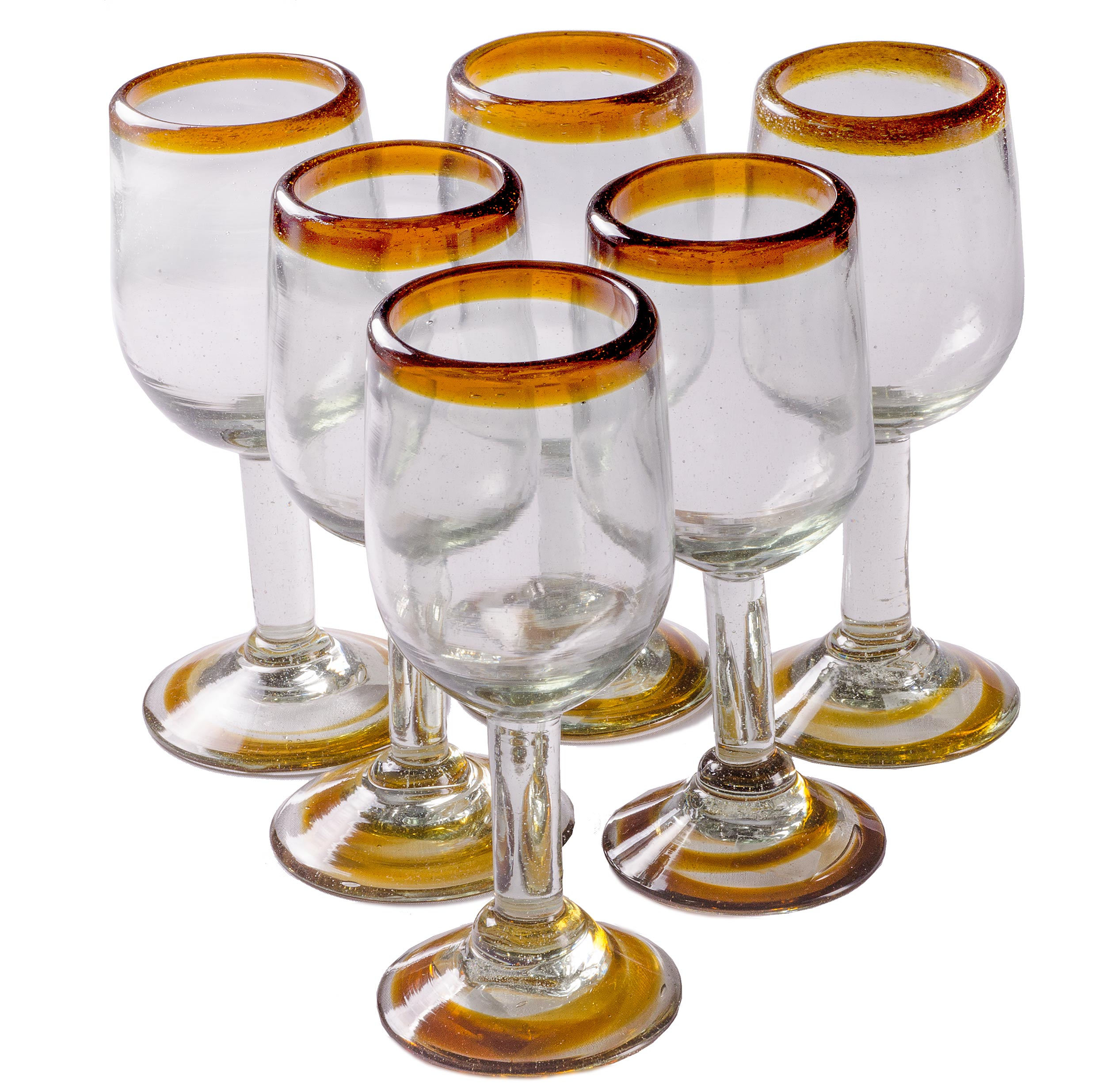 Orion Amber Rim 11 oz Tulip Wine - Set of 6 - Orion's Table Mexican Glassware