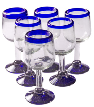 Orion Blue Rim 11 oz Tulip Wine - Set of 6 - Orion's Table Mexican Glassware