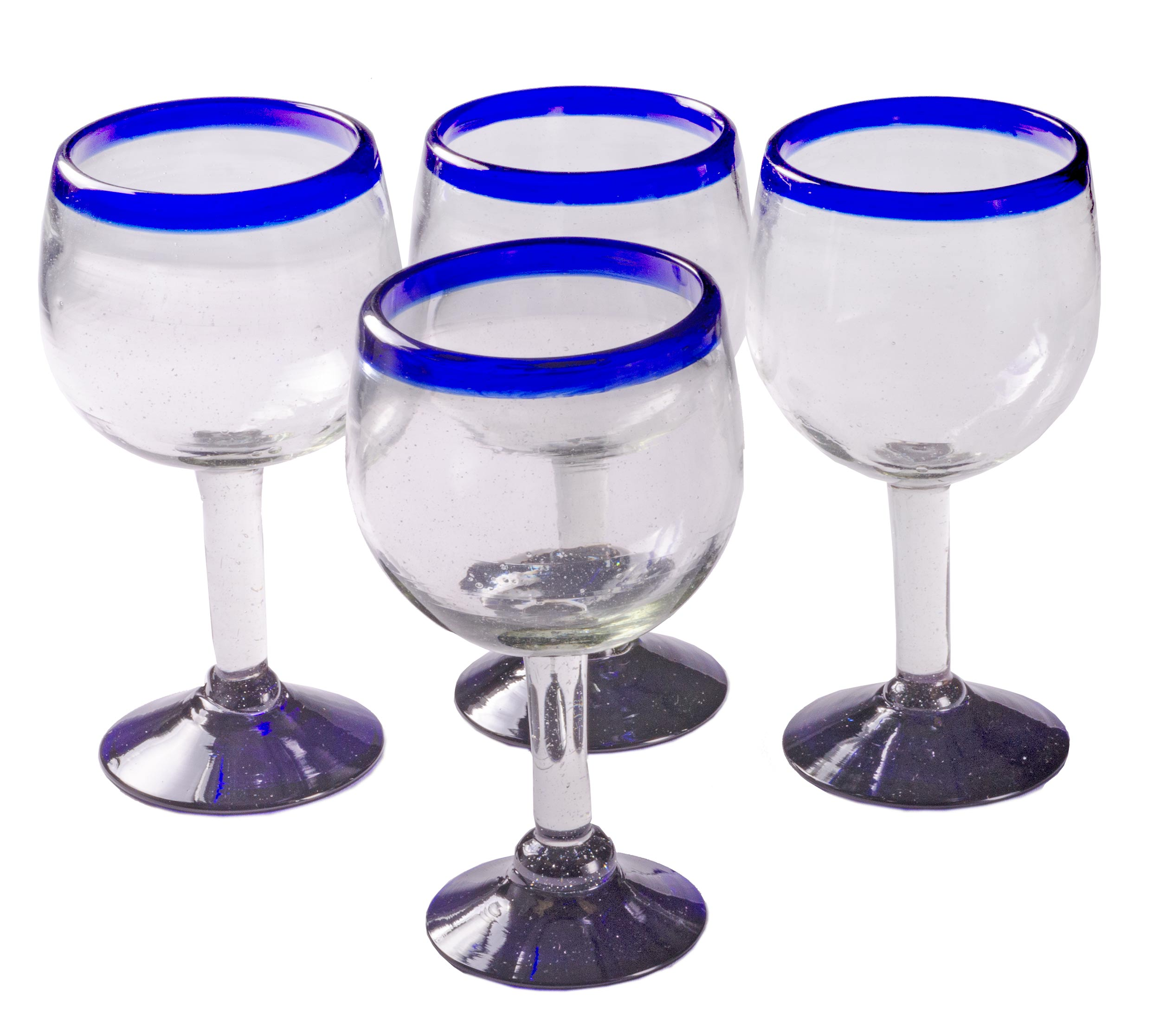Orion Cobalt Rim 16 oz Large Wine Glass - Set of 4 - Orion's Table Mexican Glassware