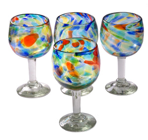 Orion Solid Confetti 16 oz Large Wine Glass - Set of 4 - Orion's Table Mexican Glassware