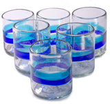 Orion Banded Turquoise/Cobalt 12 oz All Purpose - Set of 6 - Orion's Table Mexican Glassware