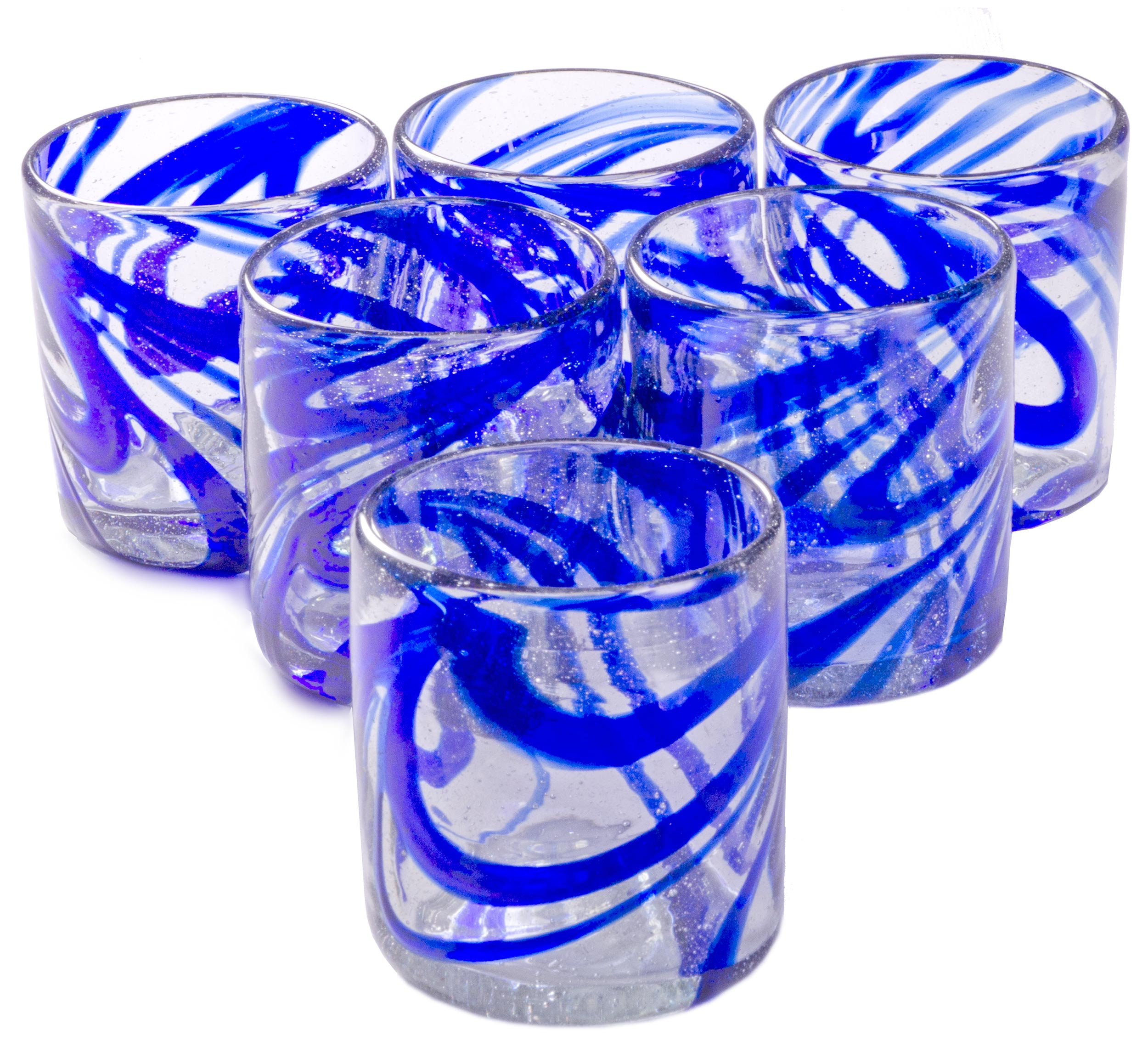 Orion Blue Swirl 12 oz All Purpose - Set of 6 - Orion's Table Mexican Glassware