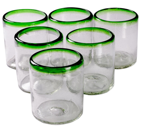 Orion Green Rim 12 oz All Purpose - Set of 6 - Orion's Table Mexican Glassware
