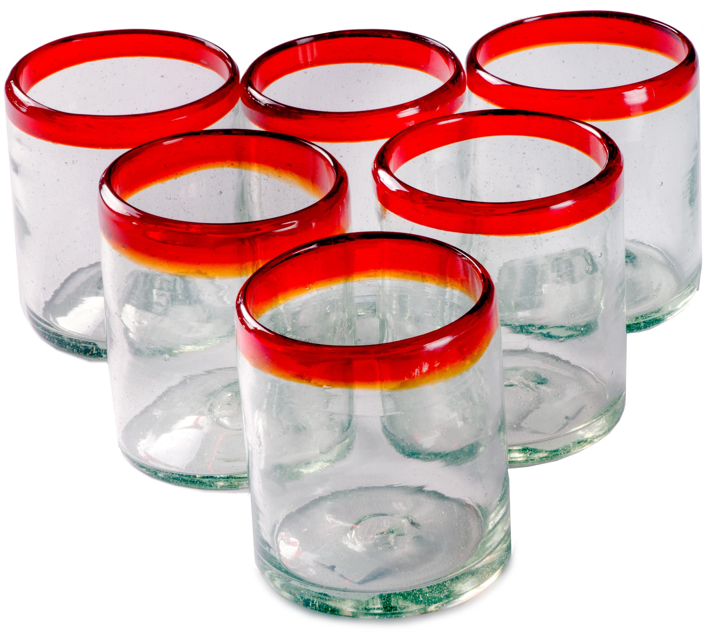 Orion Red Rim 12 oz All Purpose - Set of 6 - Orion's Table Mexican Glassware