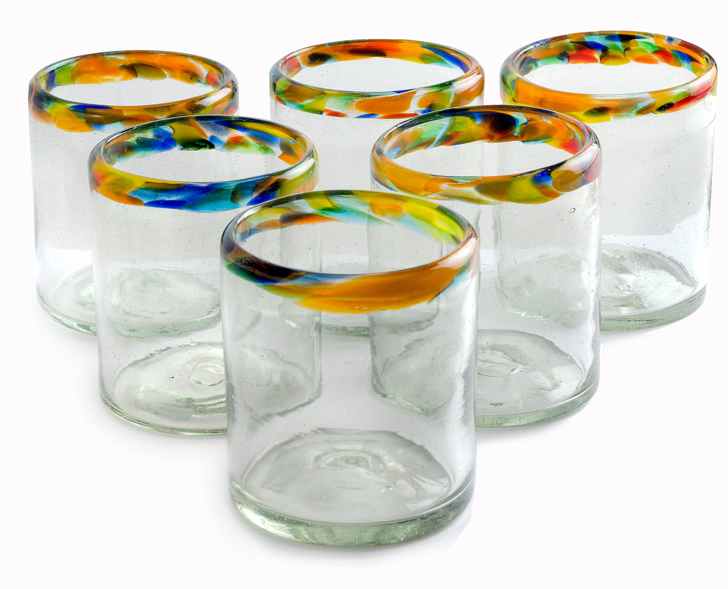 Orion Confetti Rim All Purpose 12 oz. - Set of 6 - Orion's Table Mexican Glassware