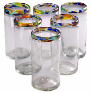 Orion Confetti Rim Perfecto Tumbler 16 oz. - Set of 6 - Orion's Table Mexican Glassware