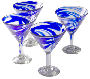 Orion Blue Swirl 15 oz Classic Margarita - Set of 4 - Orion's Table Mexican Glassware