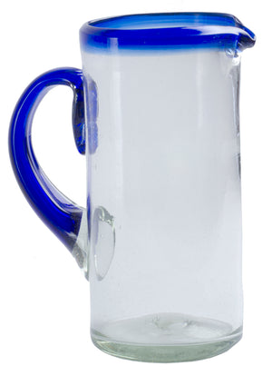 Orion Blue Rim 56 oz Pitcher - Orion's Table Mexican Glassware