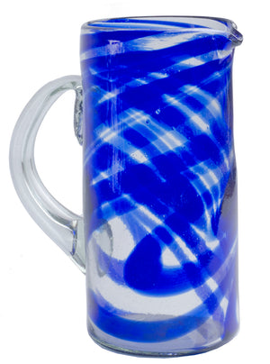 Orion Blue Swirl 56 oz Pitcher - Orion's Table Mexican Glassware