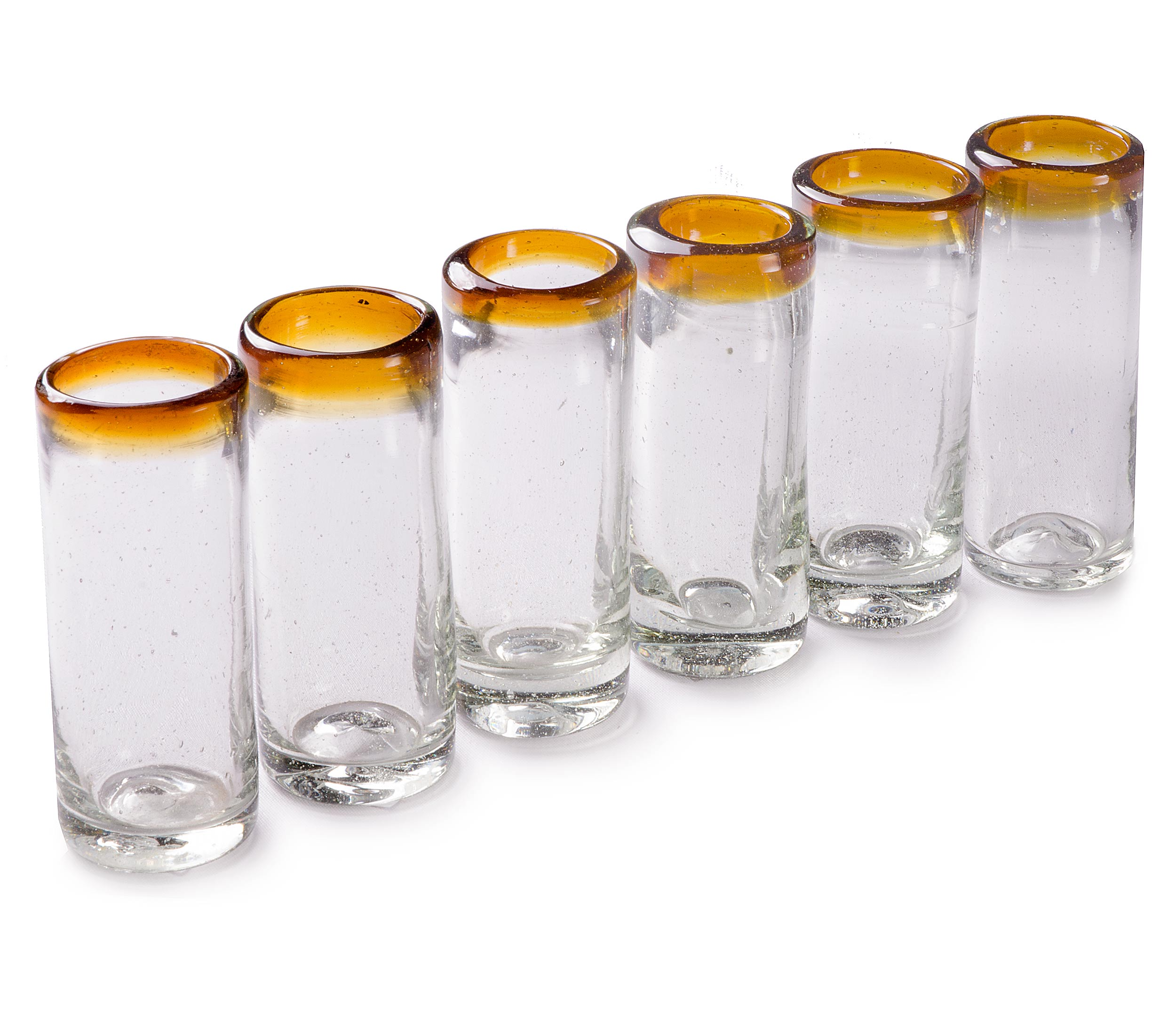 Orion Amber Rim 2 oz Shot Glass - Set of 6 - Orion's Table Mexican Glassware