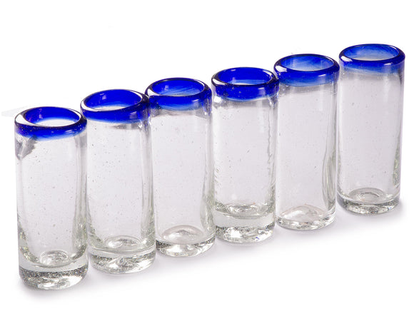 Orion Blue Rim 2 oz Shot Glass - Set of 6 - Orion's Table Mexican Glassware