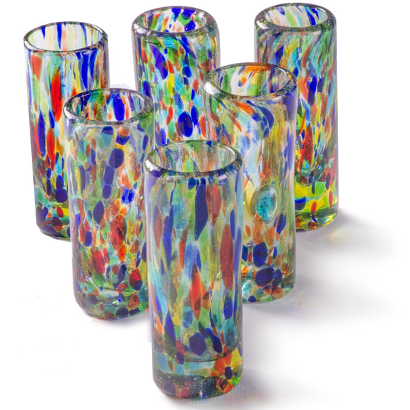 Orion Solid Confetti 2 oz Shot Glass - Set of 6 - Orion's Table Mexican Glassware