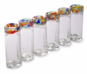 Orion Confetti Rim 2 oz Shot Glass - Set of 6 - Orion's Table Mexican Glassware