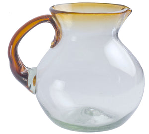 Orion Amber Rim 80 oz Bola Pitcher - Orion's Table Mexican Glassware