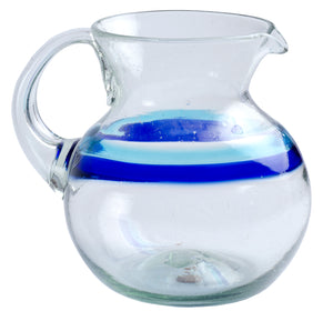 Orion Banded Turquoise/Cobalt 80 oz Bola Pitcher - Orion's Table Mexican Glassware