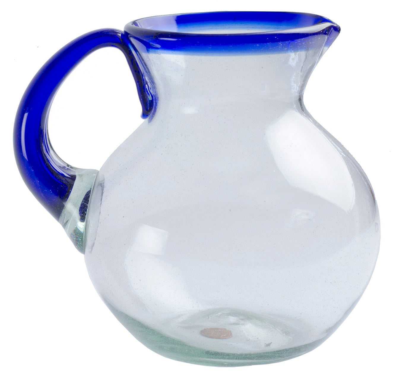 Orion Blue Rim 80 oz Bola Pitcher - Orion's Table Mexican Glassware