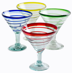 Orion Assorted Spiral 12 oz Margarita/Martini - Set of 4  - Orion's Table Mexican Glassware