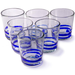 Orion Blue Serpentine 12 oz Short - Set of 6 - Orion's Table Mexican Glassware