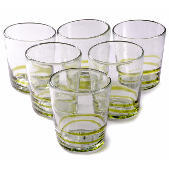 Orion Green Serpentine 12 oz Short - Set of 6 - Orion's Table Mexican Glassware