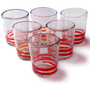 Orion Red Serpentine 12 oz Short - Set of 6 - Orion's Table Mexican Glassware