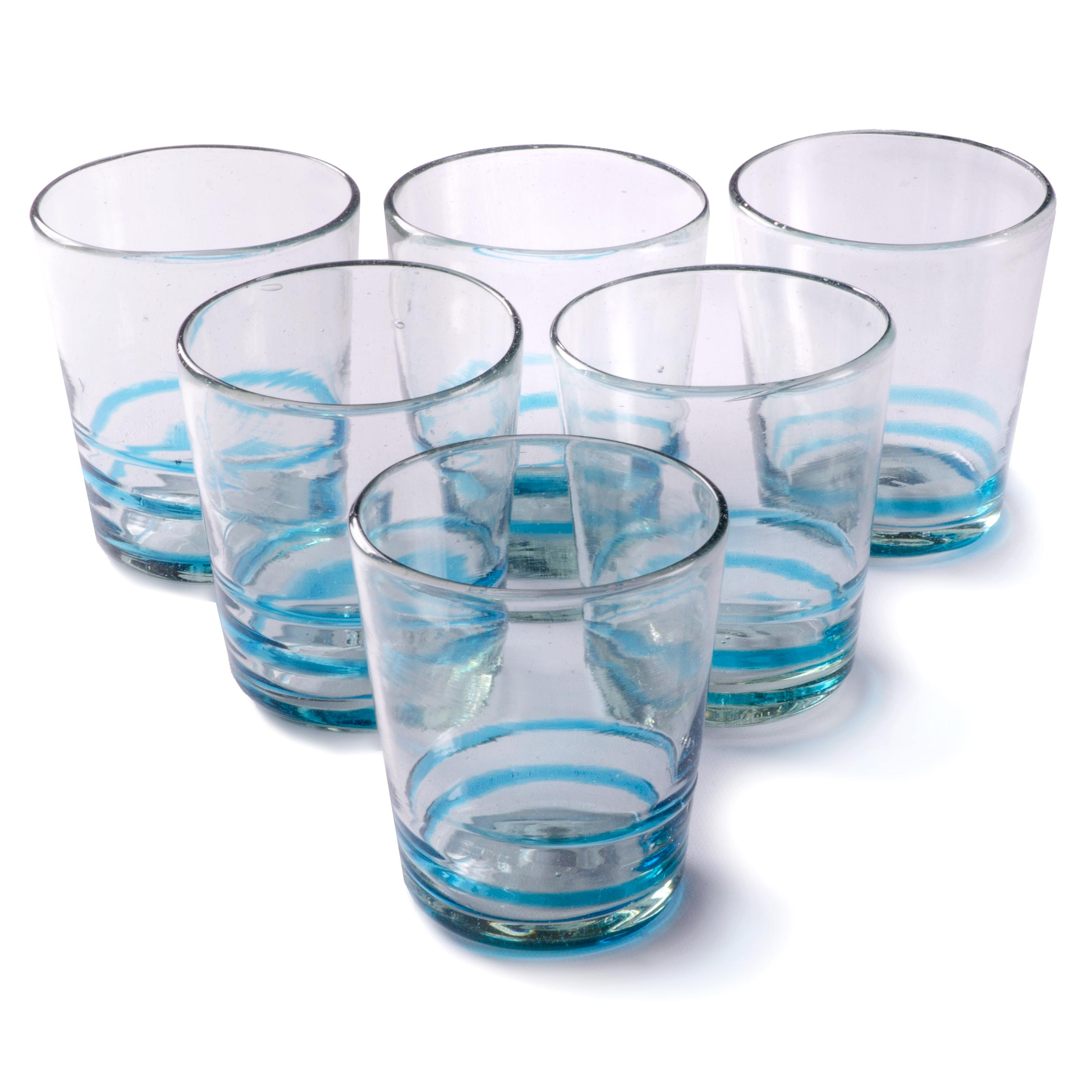 Orion Turquoise Serpentine 12 oz Short - Set of 6 - Orion's Table Mexican Glassware