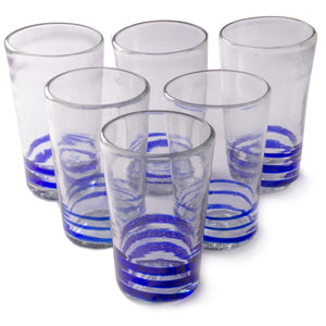 Orion Blue Serpentine 18 oz Tall - Set of 6 - Orion's Table Mexican Glassware