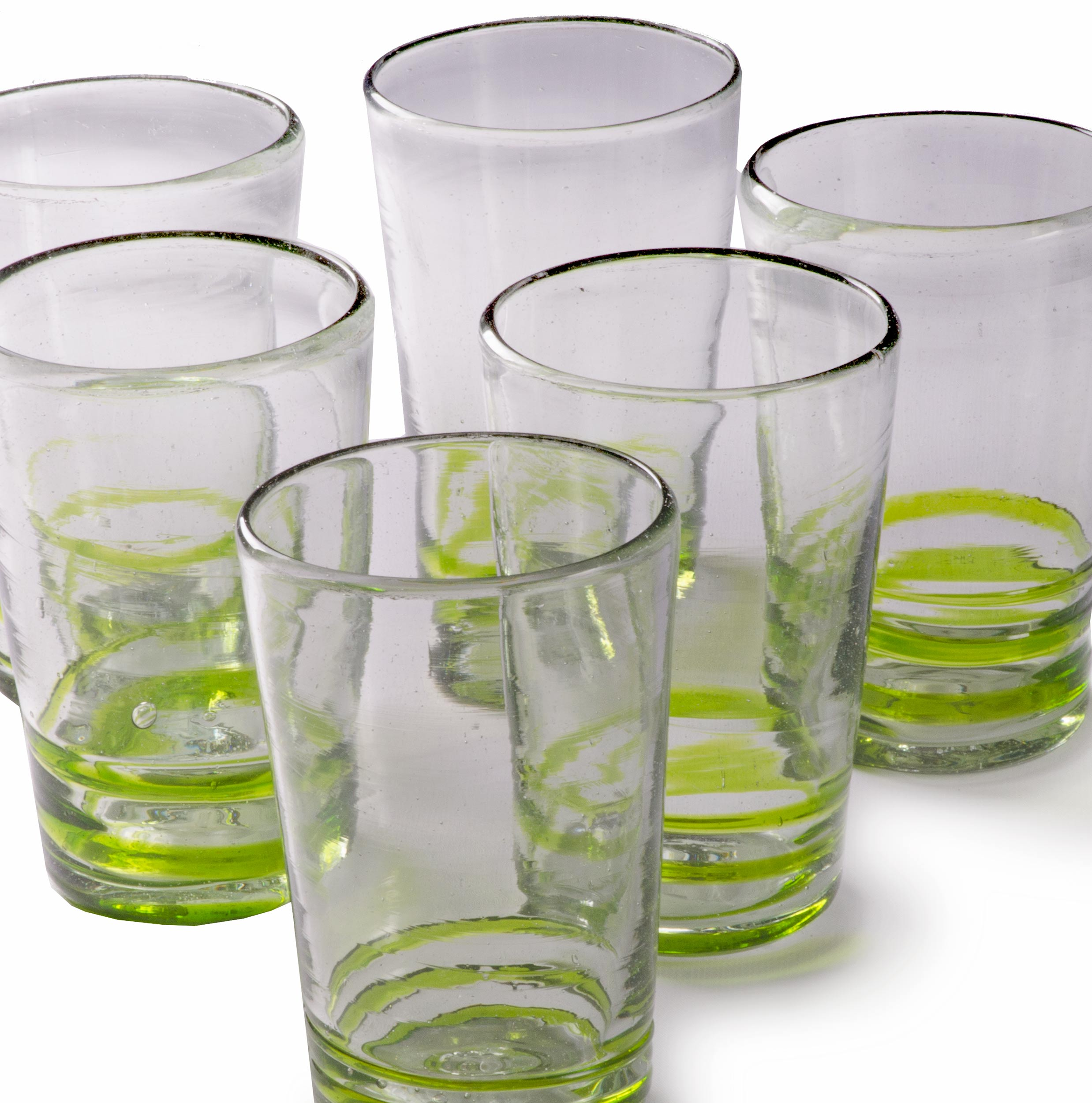 Orion Green Serpentine 18 oz Tall - Set of 6 - Orion's Table Mexican Glassware
