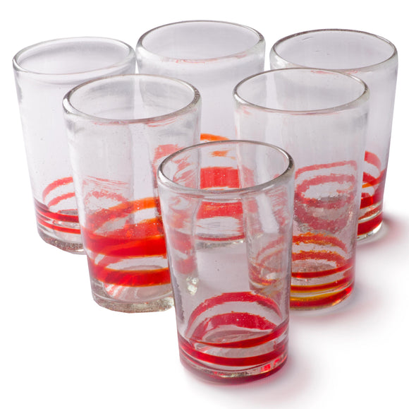Orion Red Serpentine 18 oz Tall - Set of 6 - Orion's Table Mexican Glassware