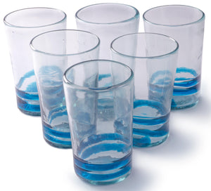 Orion Turquoise Serpentine 18 oz Tall - Set of 6 - Orion's Table Mexican Glassware