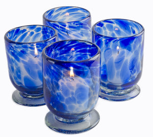 Orion Sedona Votive Collection - Recycled Clear Glass With Cobalt Splash - Set of 4 - Orion's Table Mexican Glassware