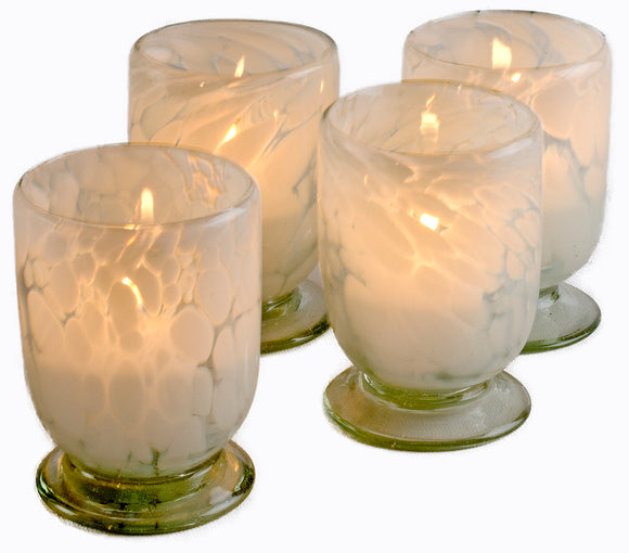 Orion Sedona Votive Collection - Recycled Clear Glass With White Splash - Set of 4 - Orion's Table Mexican Glassware