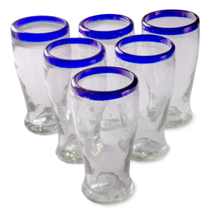 Orion Cobalt Rim 16 oz Cantina Beer - Set of 6 - Orion's Table Mexican Glassware