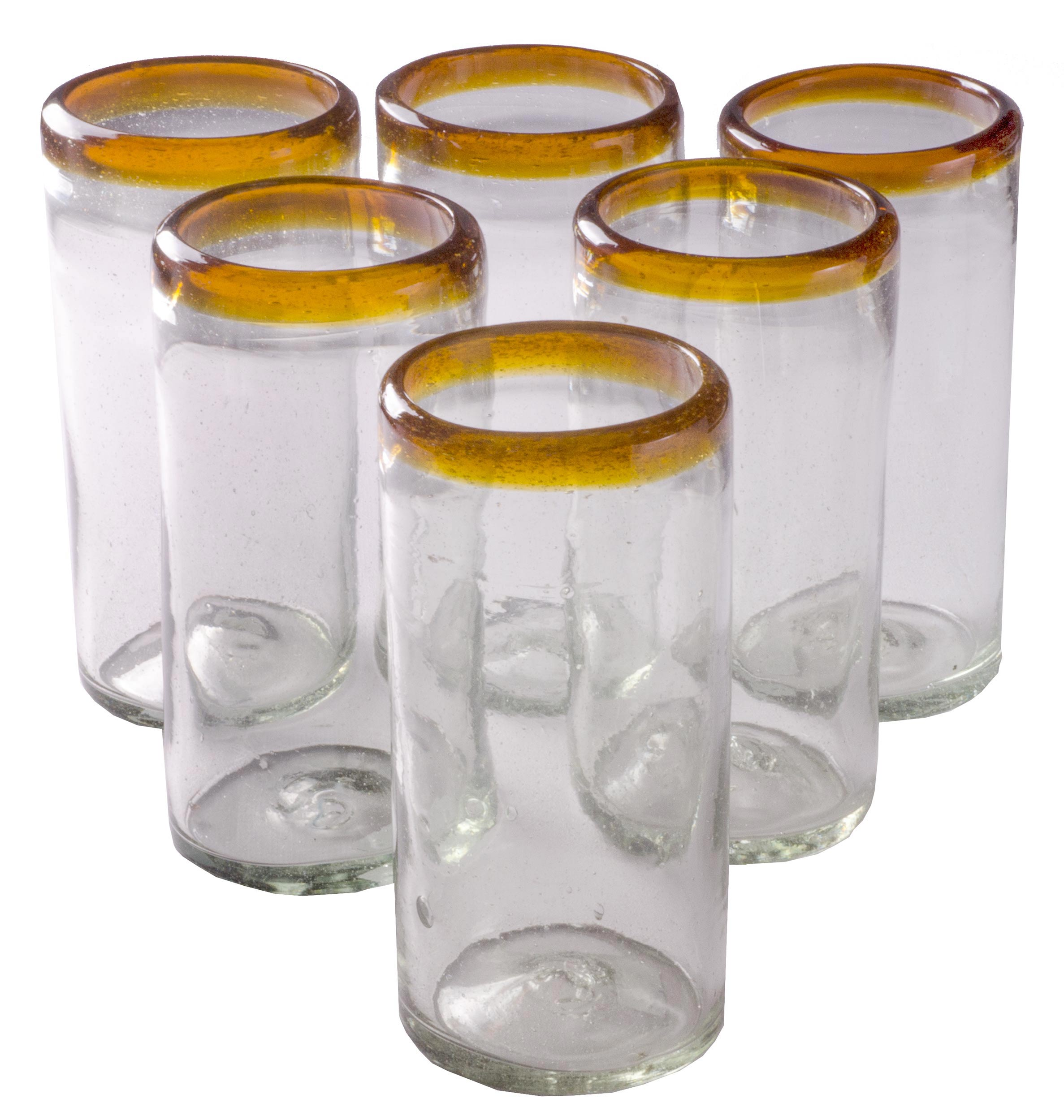 Orion Amber Rim 22 oz Tall Tumbler - Set of 6 - Orion's Table Mexican Glassware