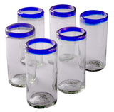 Orion Blue Rim 22 oz Tall Tumbler - Set of 6 - Orion's Table Mexican Glassware