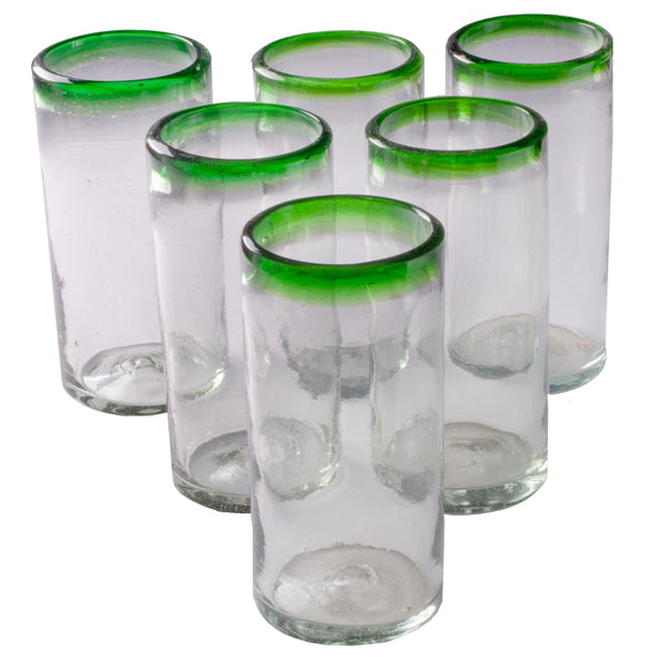 Orion Green Rim 22 oz Tall Tumbler - Set of 6 - Orion's Table Mexican Glassware