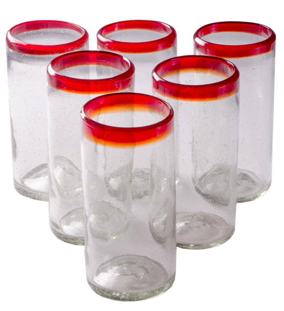 Orion Red Rim 22 oz Tall Tumbler - Set of 6 - Orion's Table Mexican Glassware