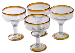 Orion Amber Rim 12 oz Margarita/Coupette - Set of 4 - Orion's Table Mexican Glassware