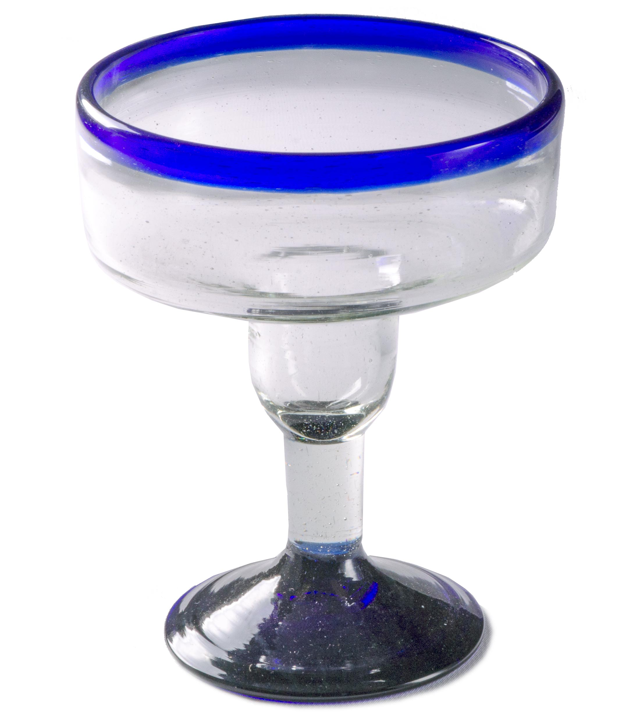 Orion Blue Rim 12 oz Margarita/Coupette - Set of 4 - Orion's Table Mexican Glassware