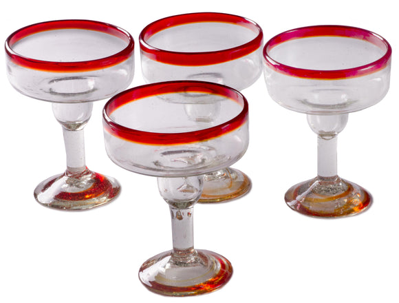 Orion Red Rim 12 oz Margarita/Coupette - Set of 4 - Orion's Table Mexican Glassware
