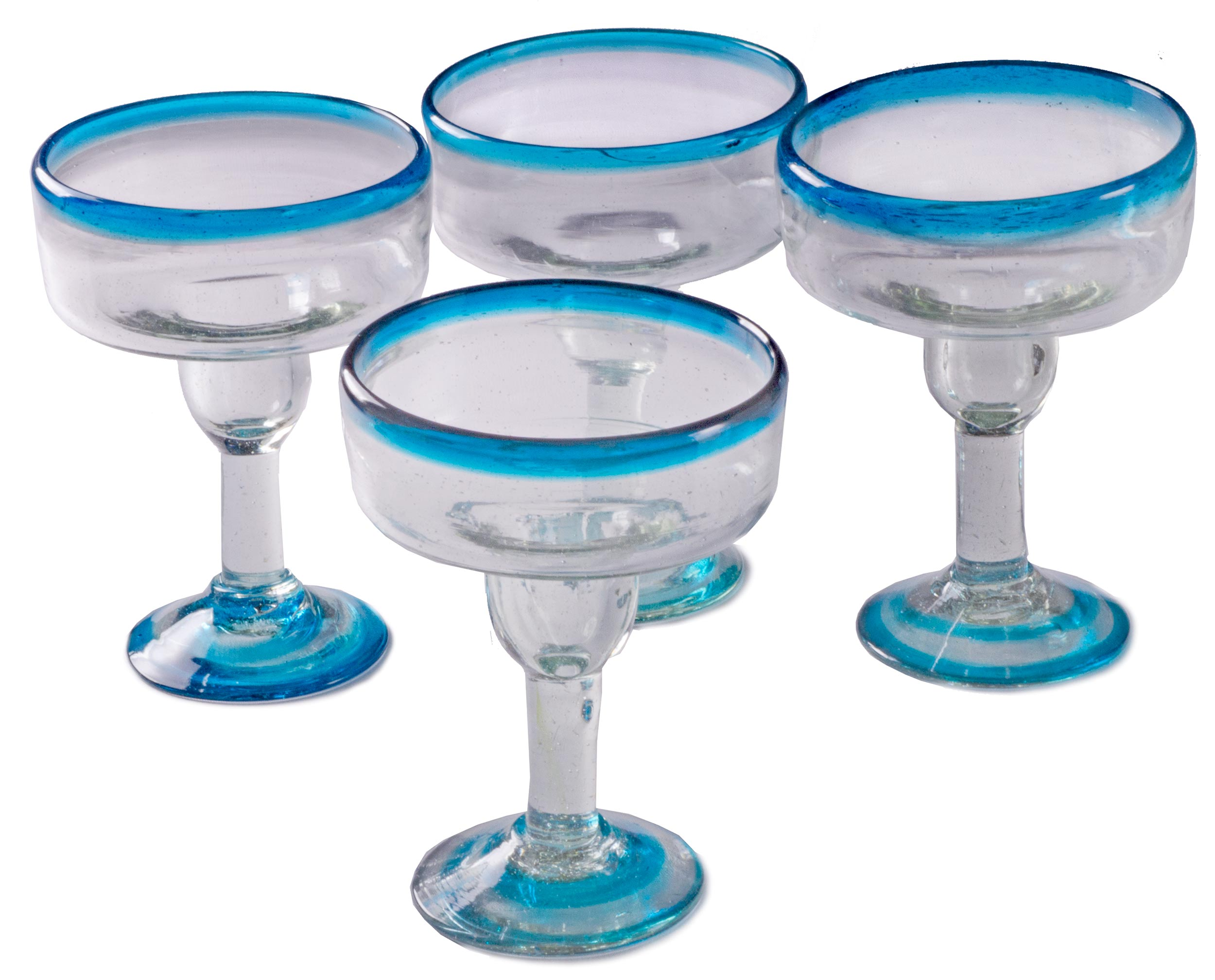 Orion Turquoise Rim 12 oz Margarita Coupette - Set of 4 - Orion's Table Mexican Glassware