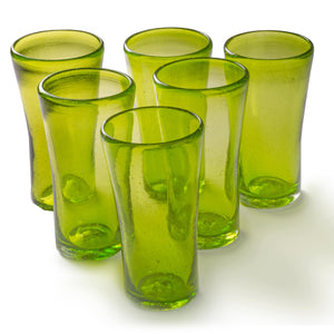 Orion Lily Collection 14 oz Tumbler Green - Set of 6 - Orion's Table Mexican Glassware