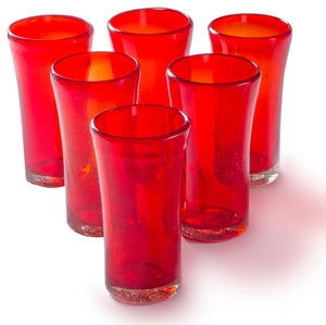 Orion Lily Collection 14 oz Tumbler Red - Set of 6 - Orion's Table Mexican Glassware
