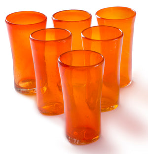 Orion Lily Collection 14 oz Tumbler Orange - Set of 6 - Orion's Table Mexican Glassware