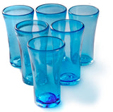Orion Lily Collection 14 oz Tumbler Turquoise - Set of 6 - Orion's Table Mexican Glassware