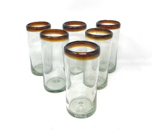 Orion Hiball Amber Rim 14 oz Tumbler - Set of 6 - Orion's Table Mexican Glassware